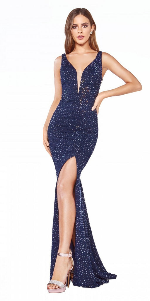 Cinderella Divine CR846 Long Fitted Gown Navy Blue Rhinestone Embellishment Illusion Sides