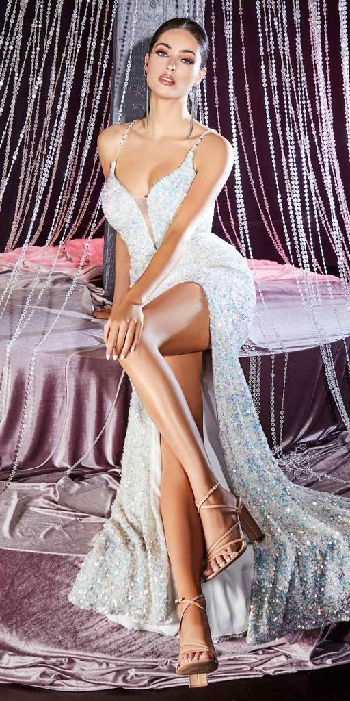 Cinderella Divine CR848 Long Fitted Iridescent Sequin Gown Opal Lace Up Back Deep V-Neckline