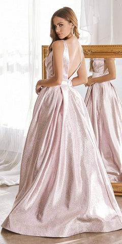 Cinderella Divine CR850 Floor Length A-Line Metallic Gown Blush Pleated Bustline Side Pockets