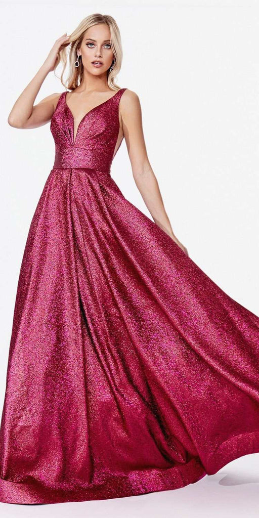 Cinderella Divine CR850 Floor Length A-Line Metallic Gown Magenta Pleated Bustline Side Pockets