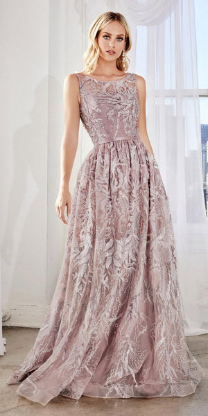 Cinderella Divine CR852 Long A-Line Lace Dress Mauve Bateau Neckline Gathered Waistline