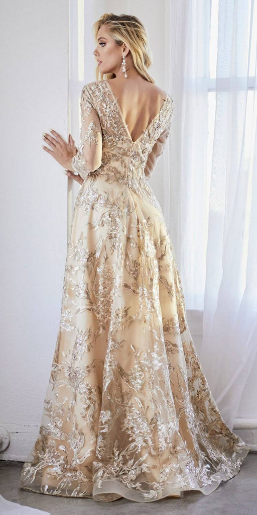 Floor Length A-Line Champagne/Gold Dress Three-Quarter Sleeve Lace Finish