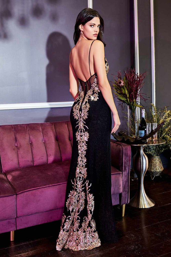 Cinderella Divine CR856 Stunning Long Black Formal Gown Gold Embroidery Front Slit
