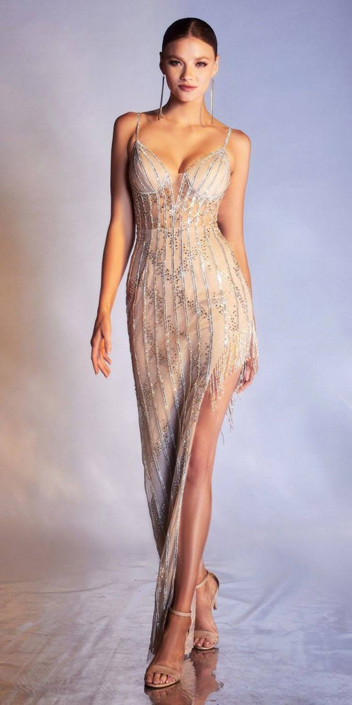 Cinderella Divine CR860 Long Asymmetrical Flapper Fringe Beaded Silver/Nude Formal Gown