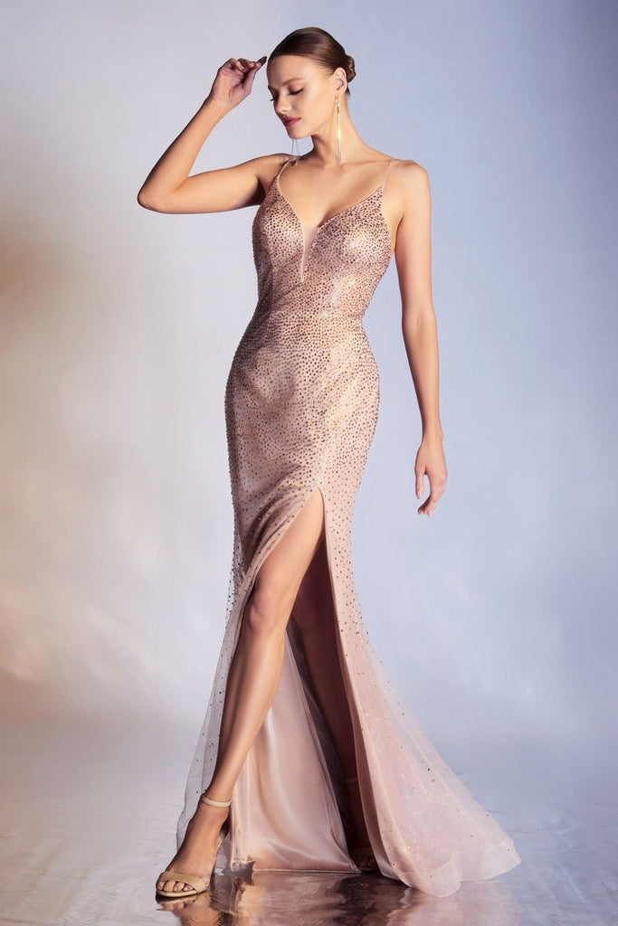 Cinderella Divine CR861 Long Sexy Glitter Embellished Rose Gold Sheath Tulle Gown With Slit