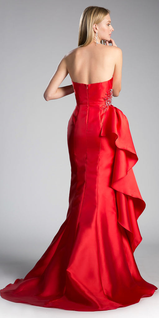 Red Strapless Mermaid Prom Gown Beaded with Side Ruffles
