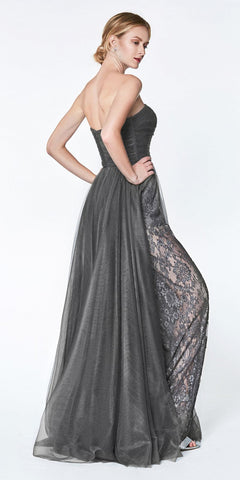 Cinderella Divine CS021 Floor Length Strapless Lace Pant Suit Charcoal Slitted Tulle Overskirt