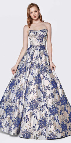 Cinderella Divine CS026 Strapless Floral Brocade Gown Royal Straight Neckline And Pockets