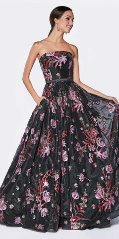 Cinderella Divine CS031 Floor Length Dark Floral Garden Print Strapless Ball Gown