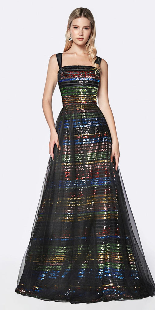 Cinderella Divine CS032 Multi Color Rainbow Sequin Dress Floor Length