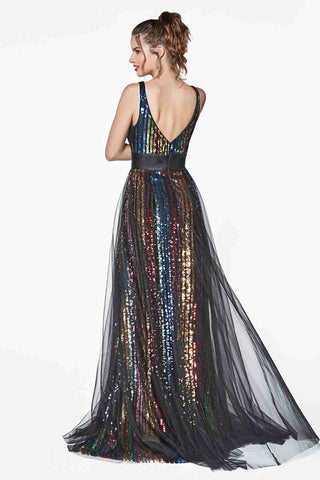 Cinderella Divine CS033 Multi Color Floor Length Dress Mesh Overlay