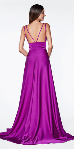 Cinderella Divine CS034 A-Line Orchid V-Neckline Long Gown With Slit And Double Strap