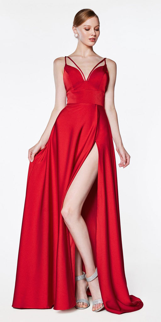 Cinderella Divine CS034 A-Line Red V-Neckline Long Gown With Slit And Double Strap