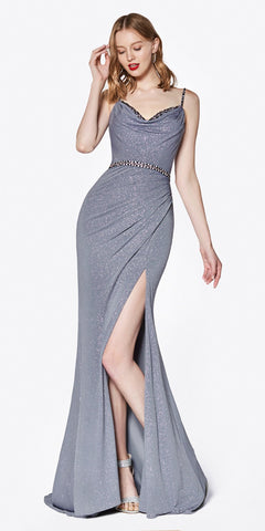 Cinderella Divine CS035 Long Fitted Ruched Gown Gray Beaded Belt And Leg Slit