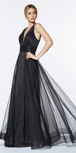 Cinderella Divine CT0040 Black A-line Long Formal Dress Ruched Bodice