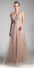 Cinderella Divine CT0040 Mauve A-line Long Formal Dress Ruched Bodice