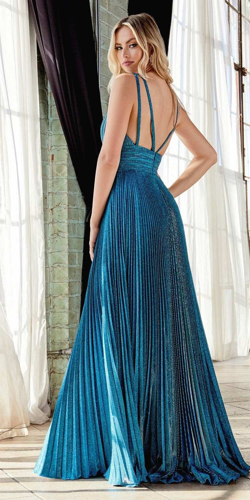 Long A-Line Pleated Dress Peacock Gathered Neckline Strappy Open Back