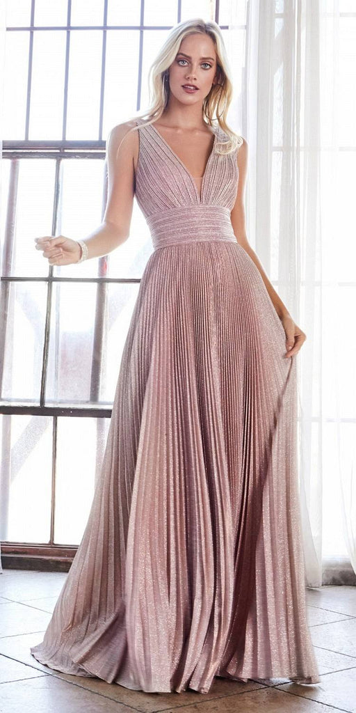 Long A-Line Pleated Dress Rose Gathered Neckline Strappy Open Back