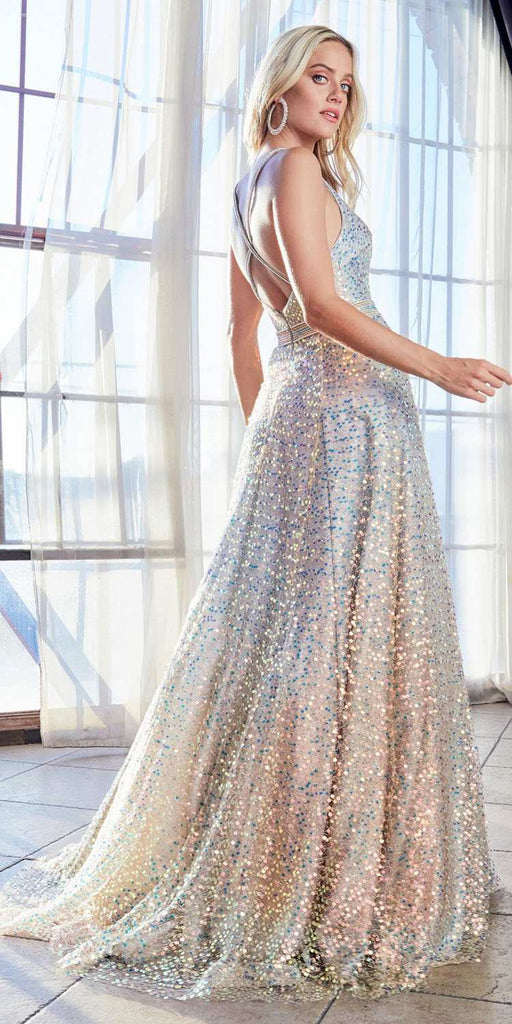 Cinderella Divine CW148 Long Sequin Ballgown Opal Silver Layered Net Sequin Fabric Criss Cross Back
