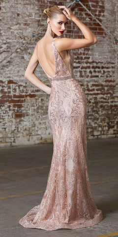 Cinderella Divine CW213 Floor Length Fitted Glitter Print Dress Rose Gold Beaded Belt Open Back