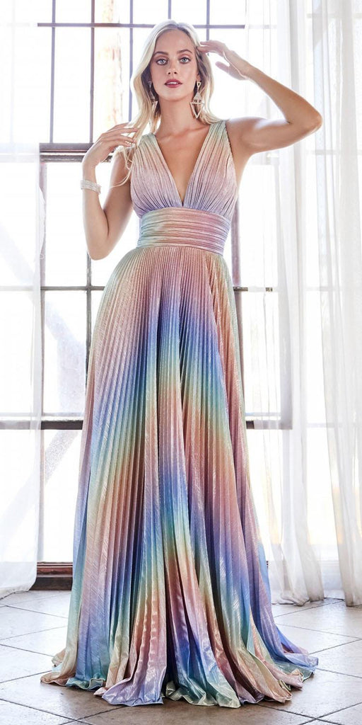 Cinderella Divine CW223 Long A-Line Rainbow Dress Metallic Pleated Skirt Criss Cross Open Back