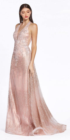 Rose Gold Appliqued V-Neck Long Prom Dress with Cape Skirt