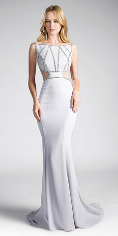 Silver Sleeveless Mermaid Prom Gown with Cut-Outs