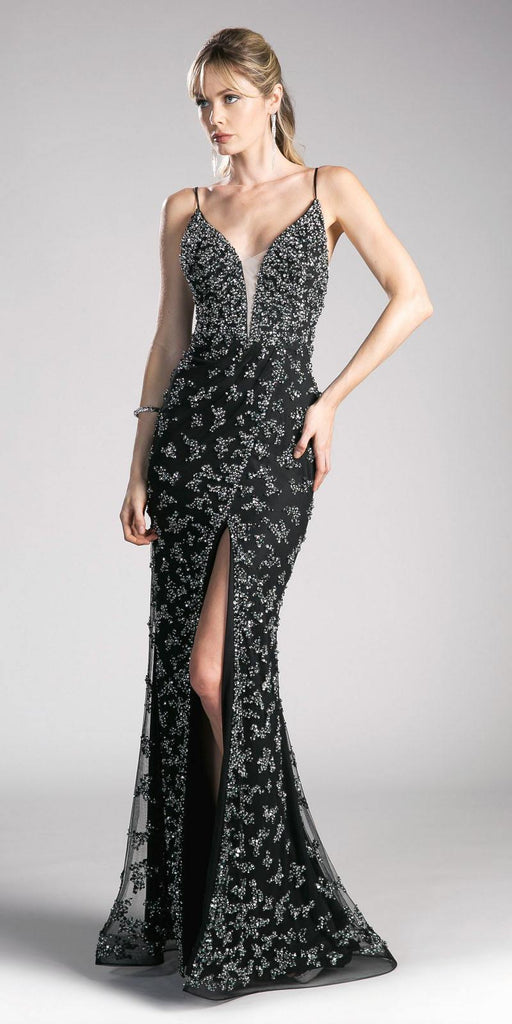 Black Mermaid Prom Gown with Spaghetti Straps and Slit