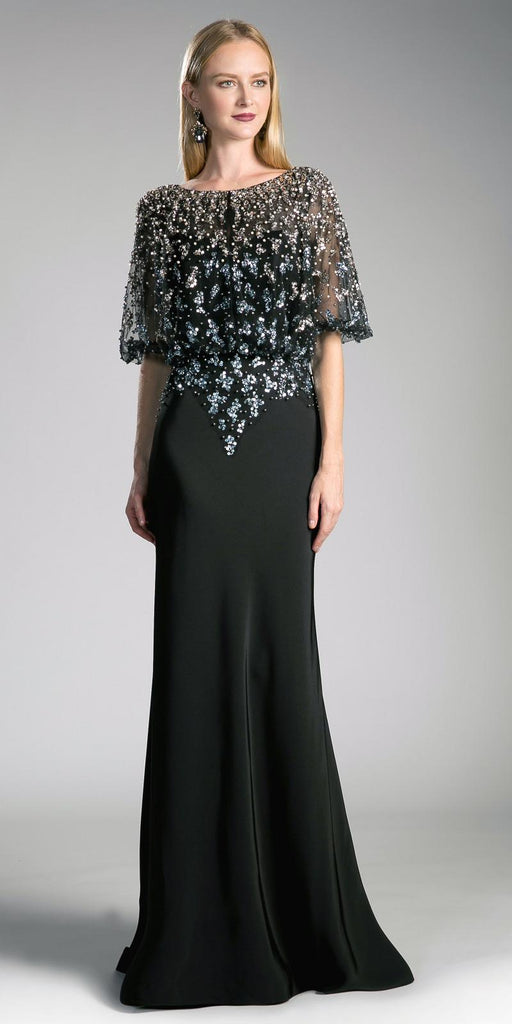 Black Long Formal Dress Bateau Neck with Quarter Sleeves