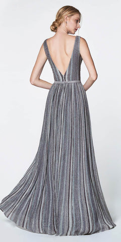 Cinderella Divine CZ0015 Striped Metallic A-Line Stretch Knit Gown V-Neckline Open Back