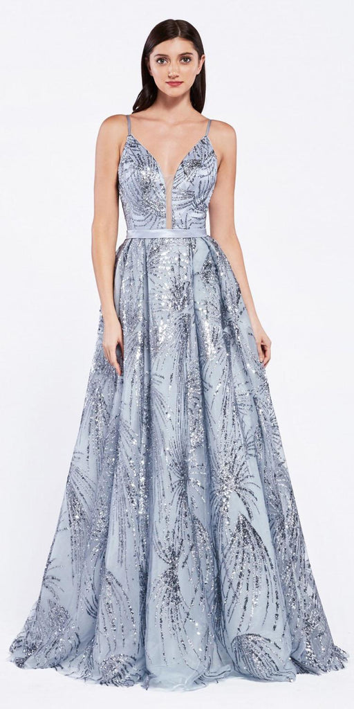 Cinderella Divine CZ0016 Metallic Blue Long Ball Gown Dress Glitter Print Details Plunge V-Neckline
