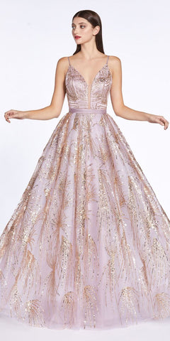 Cinderella Divine CZ0016 Rose Gold Long Ball Gown Dress Glitter Print Details Plunge V-Neckline