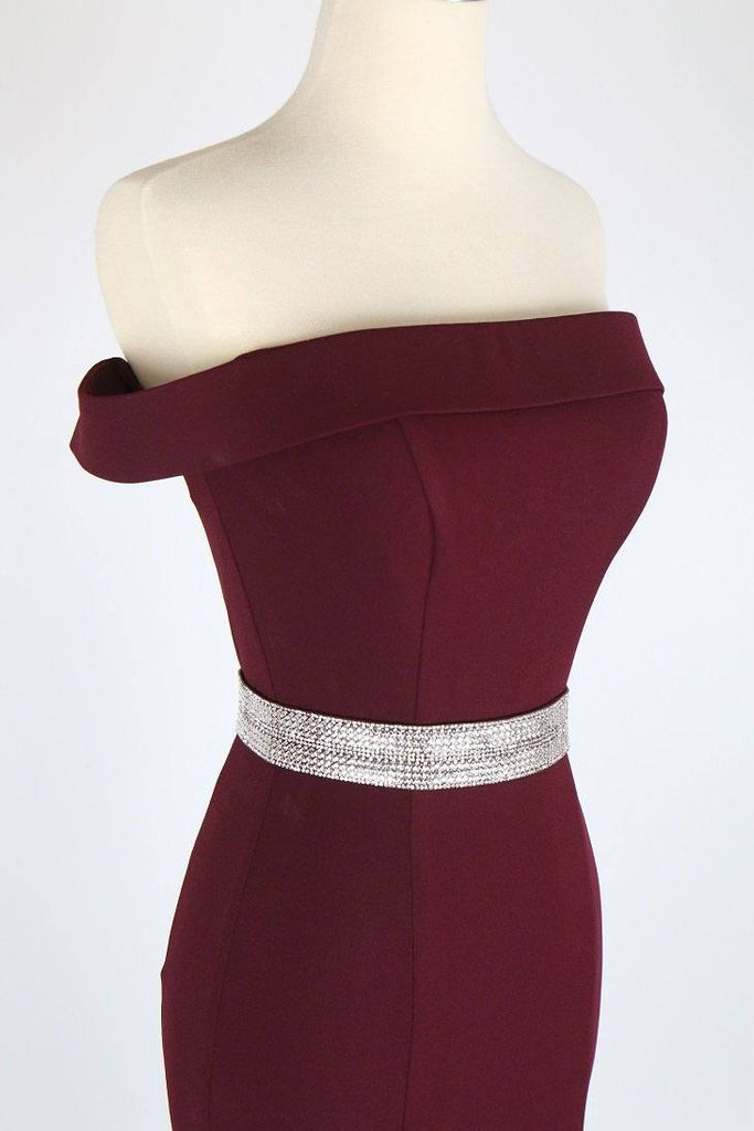 Burgundy Off-the-Shoulder Long Formal Dress with Train - Zoom