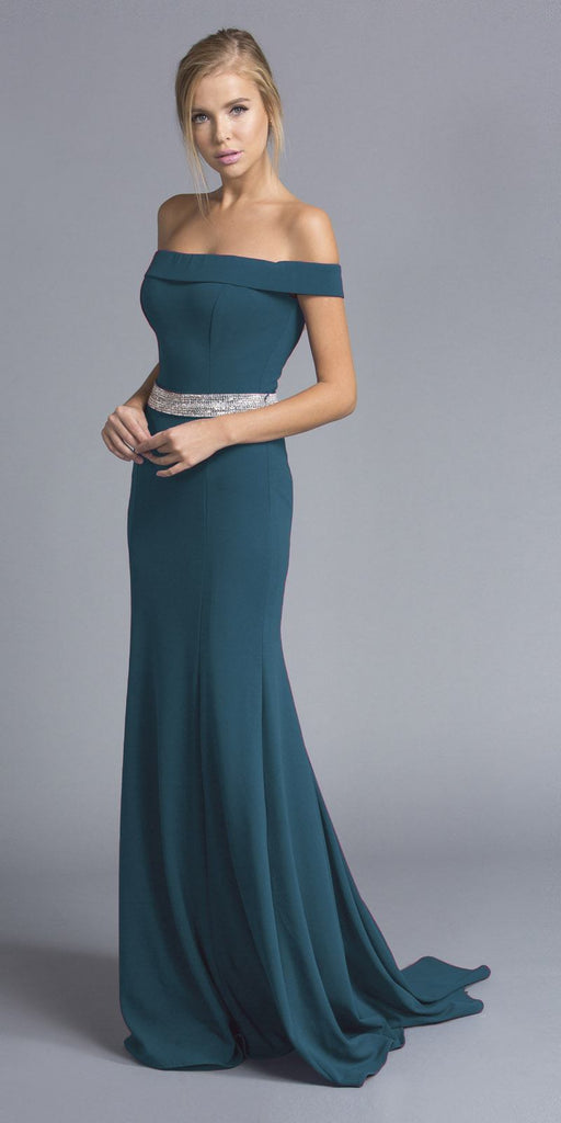 Hunter Green Off-the-Shoulder Long Formal Dress with Train