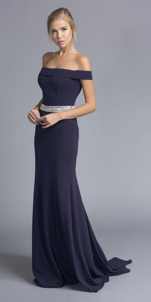 Navy Blue Off-the-Shoulder Long Formal Dress with Train