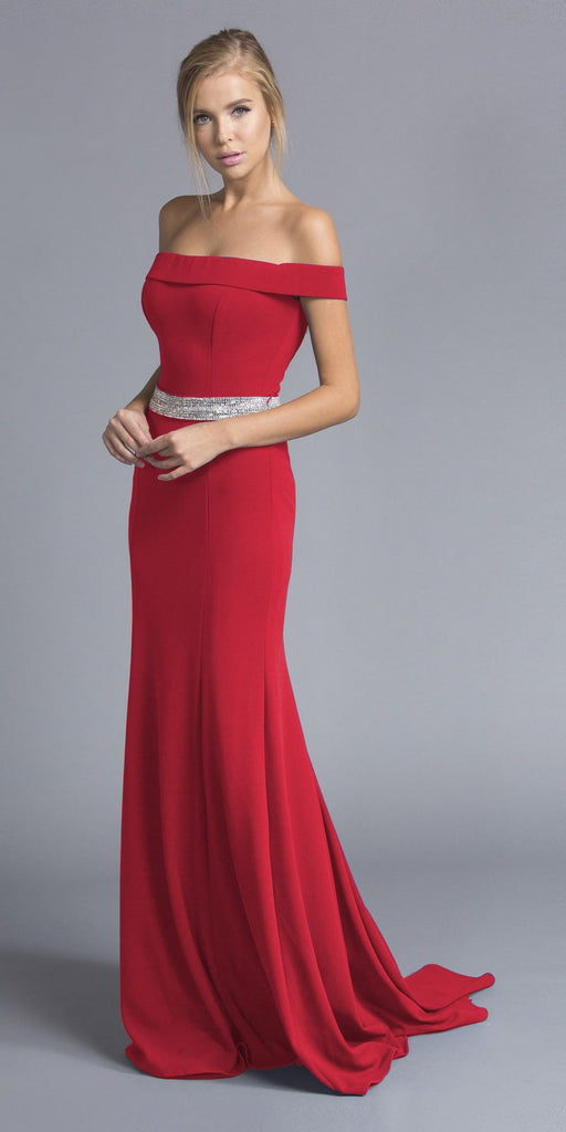 Red Off-the-Shoulder Long Formal Dress with Train