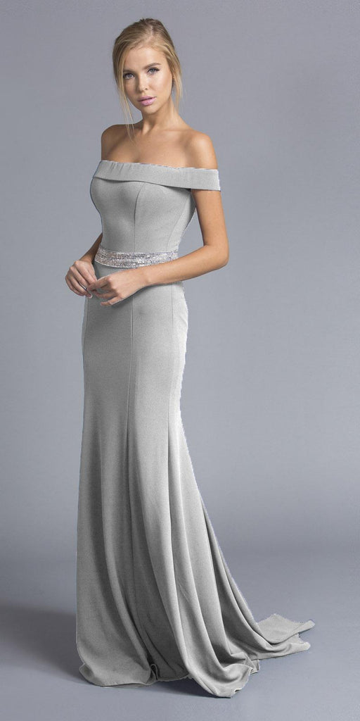 Silver Off-the-Shoulder Long Formal Dress with Train