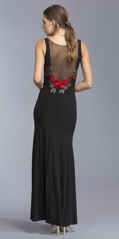 Black Floor Length Formal Dress Embroidered Illusion Back
