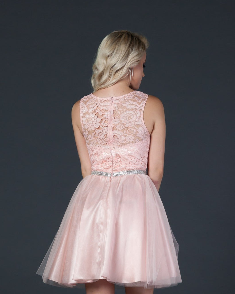 Aspeed D127A Blush Short Homecoming Dress Lace Bodice Embellished Waist