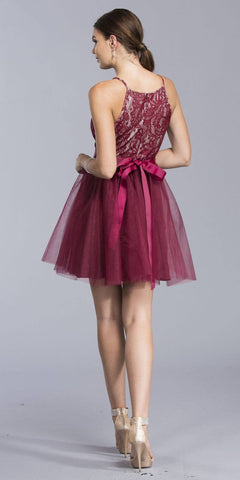 Burgundy Halter Cocktail Dress with Embellished Ribbon Sash