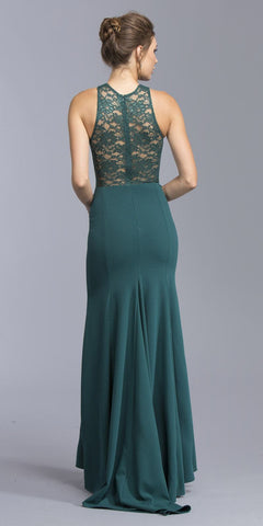 Hunter Green Long Prom Dress Lace Neckline and Back