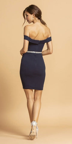 Navy Blue Off-Shoulder Short Party Dress