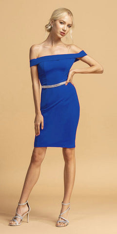 Royal Blue Off-Shoulder Short Party Dress