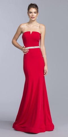 Red Strapless Long Mermaid Prom Dress Embellished Waist