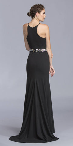 Black Sleeveless Evening Gown with Embellished Waist