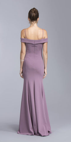 Mauve Off-the-Shoulder Long Formal Dress V-Neck