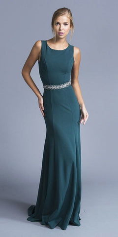Hunter Green Belted Long Formal Dress Sleeveless