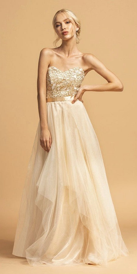 Gold Strapless Long Prom Dress Appliqued Bodice