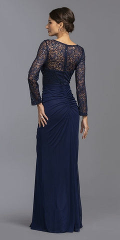 Navy Blue Long Formal Dress Lace Bodice with Brooch