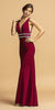 Burgundy V-Neck Embellished Long Prom Dress